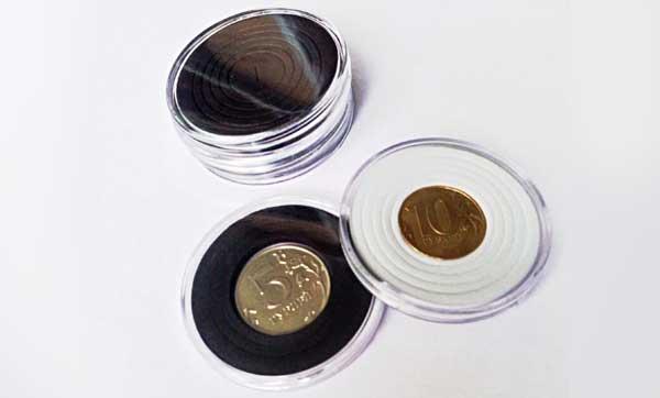 круглые капсулы для монет, подходящие под разный диаметр
