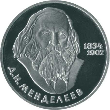1 рубль 1984 150 лет со дня рождения Д.И. Менделеева реверс