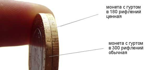 10 рублей Северная Осетия-Алания отличия в рифлениях на гурте