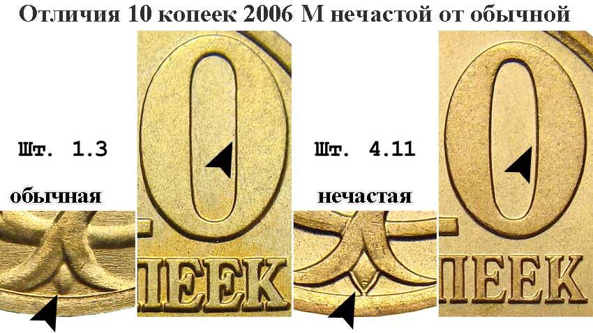 монета 10 копеек 2006 года М, отличия обычной от нечастой