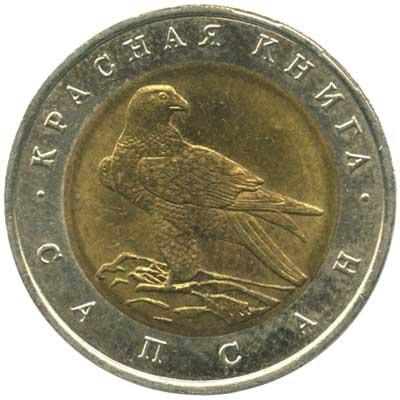 50 рублей 1994 Красная книга. Сапсан реверс
